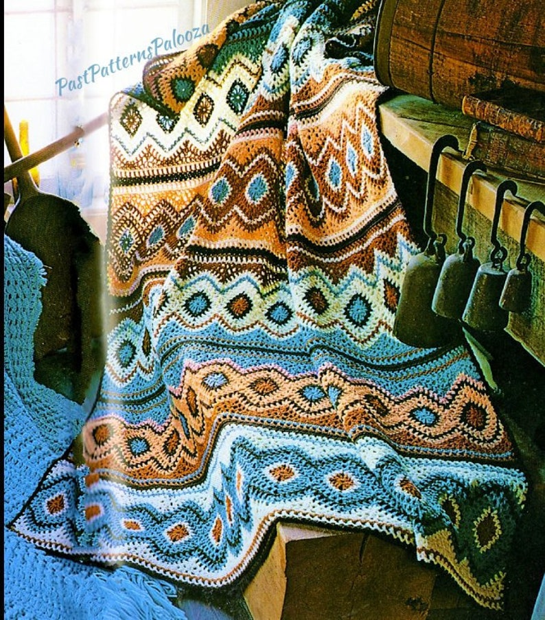 Vintage Crochet Navajo Afghan Pattern Pdf Instant Digital Etsy