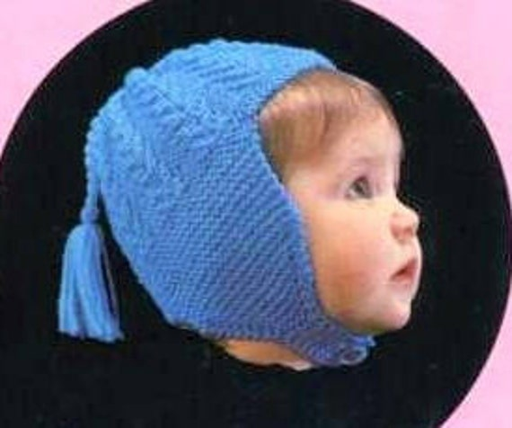 Vintage Knitting Patterns Knit Baby Hats Helmets Pdf Instant Etsy