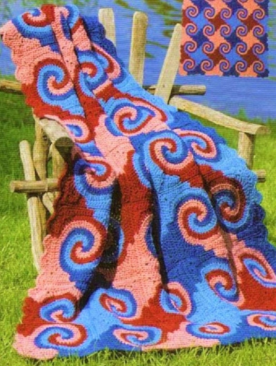 Vintage Crochet Pattern Swirly Squares Spiral Swirl Afghan Pdf Etsy