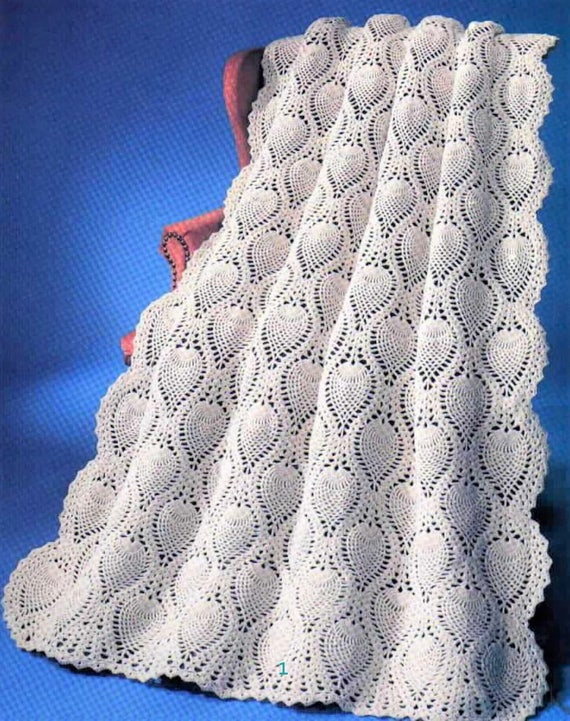 Vintage Crochet Pretty Lace Pineapple Afghan Pattern Pdf Etsy