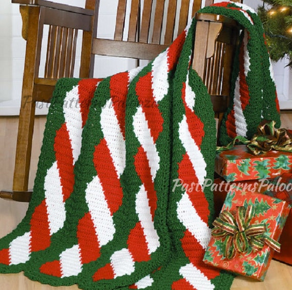 Vintage Crochet Pattern Christmas Candy Cane Twist Afghan