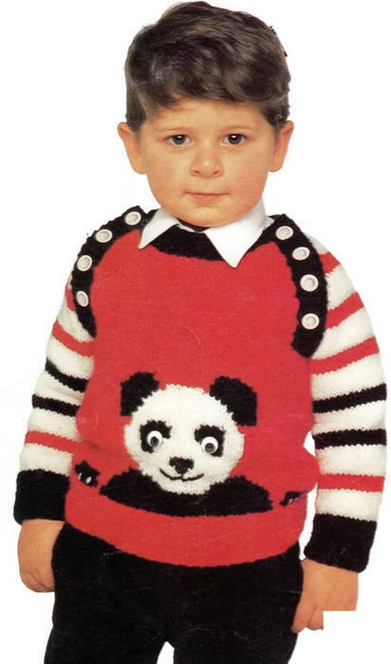 a631257c157a Vintage Kids Knit Panda Bear Pullover Sweater Knitting Pattern