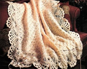 Vintage Crochet Pattern Victorian Lace Afghan Throw PDF Instant Digital Download Heirloom Christening Lapghan Ecru White 46x58