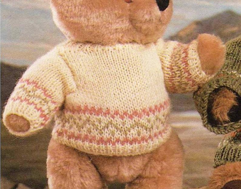 Vintage Knitting Pattern Teddy Bear Sweater Knit Fair Isle ...