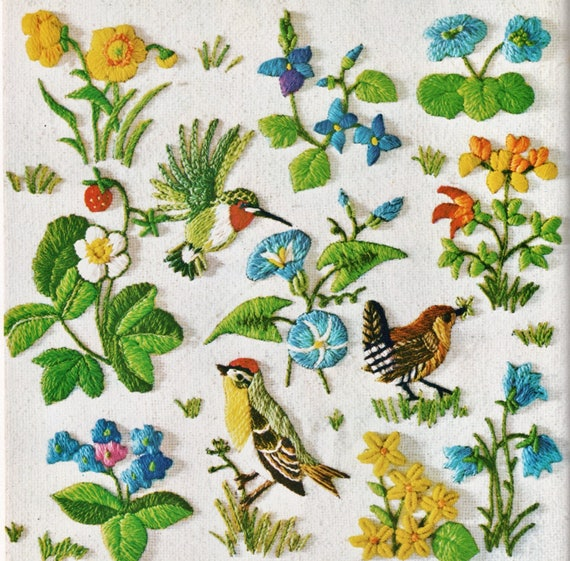 Pdf Vintage Crewel Embroidery Patterns Spring Birds Berries Etsy