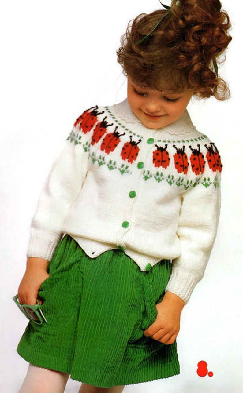 f16314edd5c9 Vintage Baby Toddler Kids Knit Ladybug Sweater Knitting