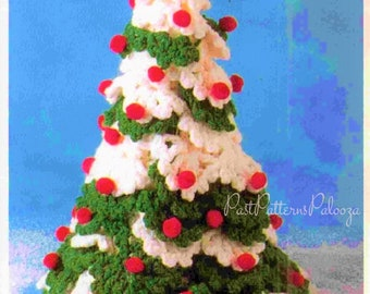 "Vintage Crochet Pattern 12"" Snowy Christmas Tree PDF Instant Digital Download Crocheted Holiday Decor Amigurumi Centerpiece Design no. 1 B2"