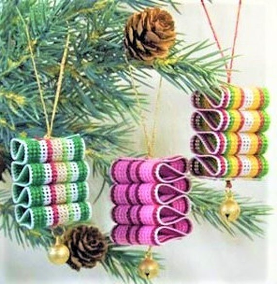 Vintage Cross Stitch 1 Mini Ribbon Candy Christmas Ornaments Patterns Pdf Instant Digital Download Perforated Paper Craft Tree Decor