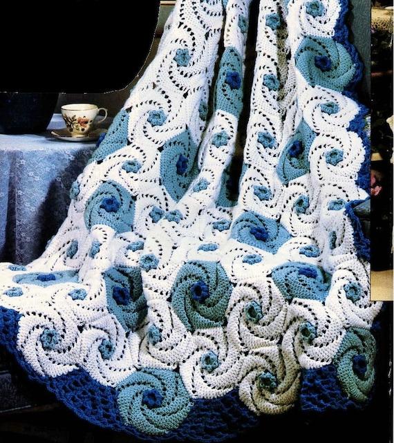 Vintage Crochet Pattern Ocean Waves Spirals Afghan Pdf Instant Etsy