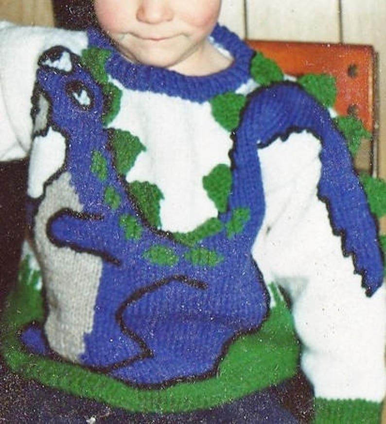 Vintage Knitting Pattern Kids Boys Dinosaur Sweater PDF | Etsy