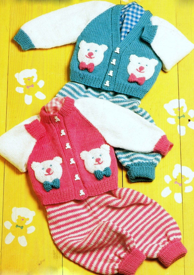 Vintage Knitting Pattern Baby Teddy Bear Motif Cardigan   Etsy