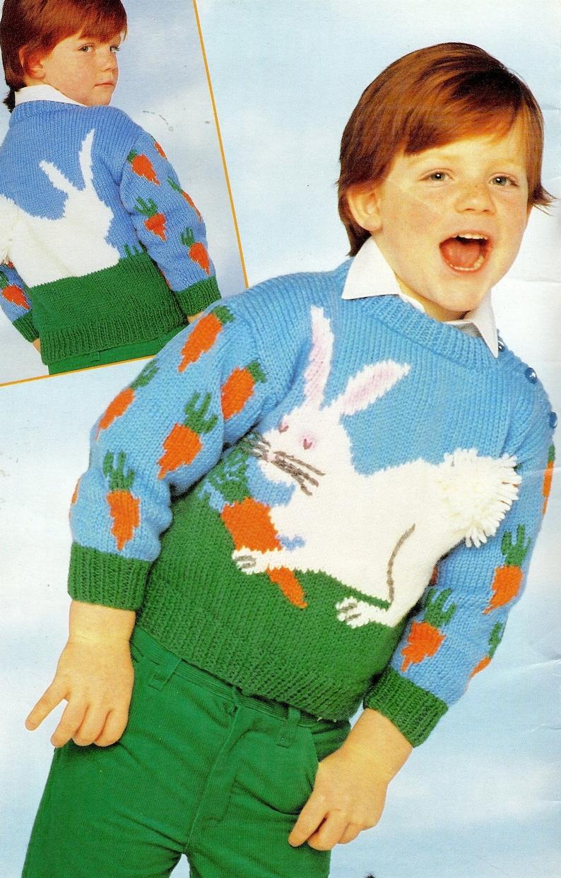 1c43785be2af Vintage Knitting Pattern Kids Knit Pullover Bunny Rabbit
