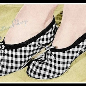 Vintage Sewing Pattern Pretty Womens Gingham Ballet House Slippers PDF Instant Digital Download Slip On Flats One Size