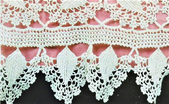 Vintage Crochet Pattern Square Heirloom Tablecloth Lacy Leaf Etsy