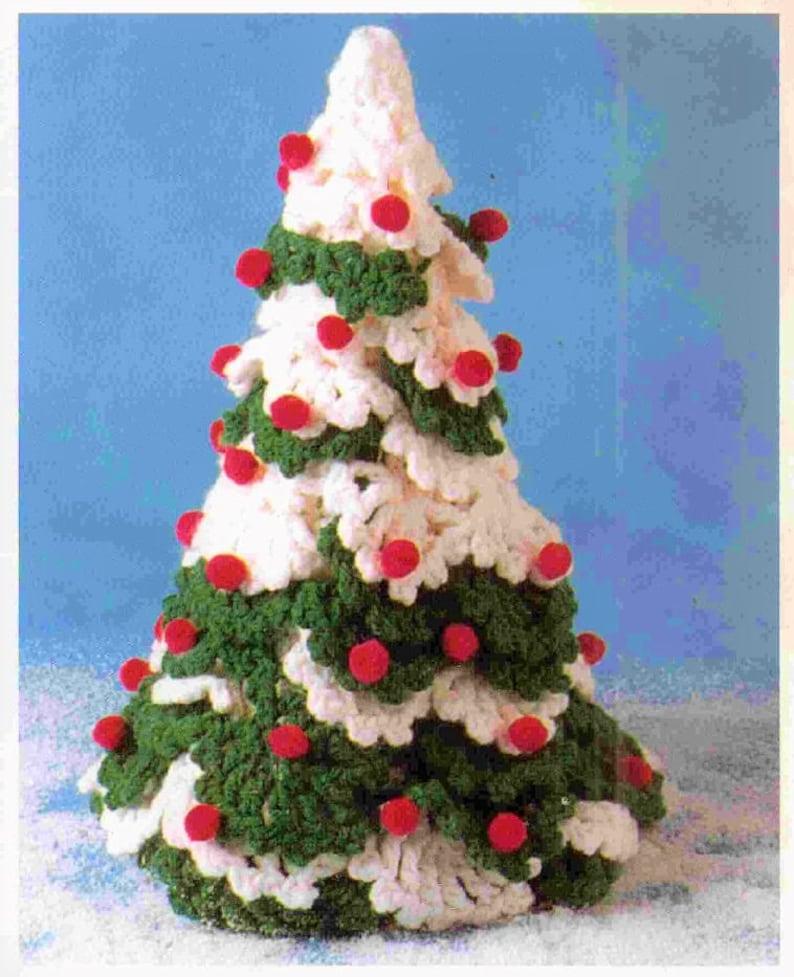 Vintage Crochet Pattern 12 Snowy Christmas Tree PDF image 0