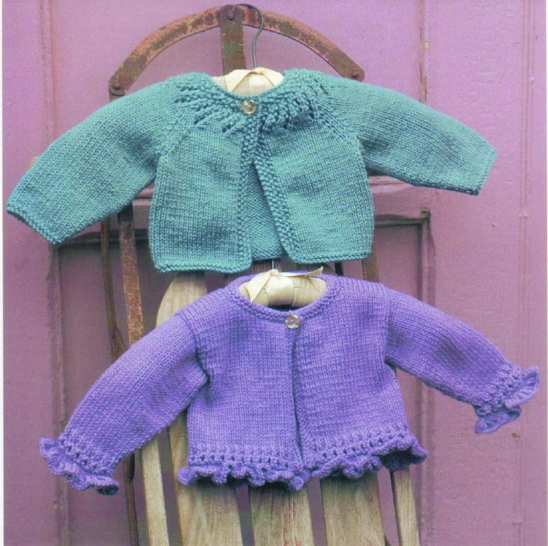 f7320f83f Vintage Knitting Patterns Baby Girl Cardigan Sweaters PDF