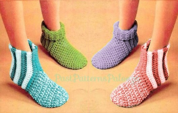 Vintage Crochet Patterns Easy Quick Simple Family Slipper Etsy