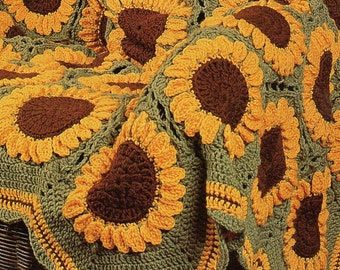 Vintage Crochet Sunflowers Afghan Pattern PDF Instant Digital Download Beautiful Sun Flower Garden 59x87