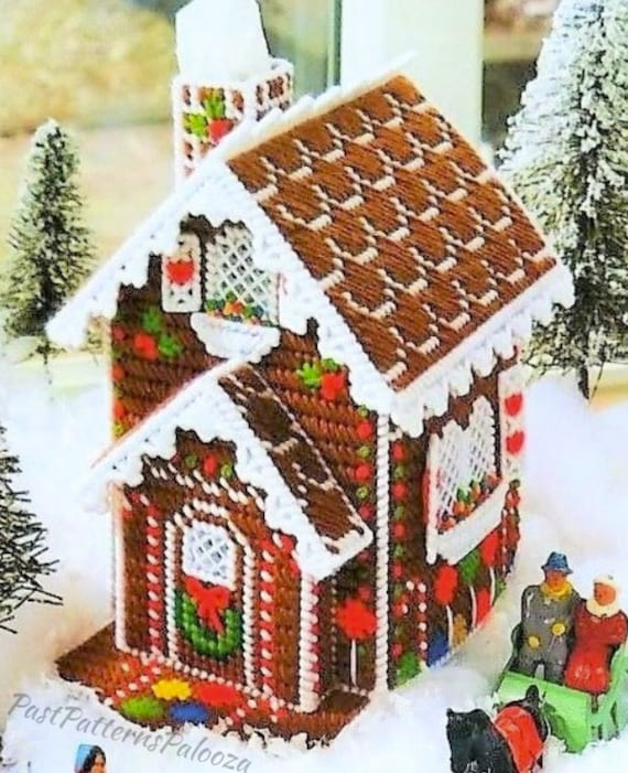 Christmas Gingerbread House.Vintage Plastic Canvas Pattern Snowy Gingerbread House Tissue Box Cover Christmas Tissue Topper Pdf Instant Digital Download 7 Count