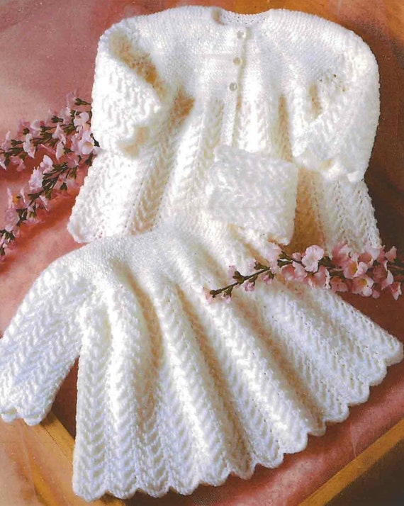 734b1d6cda77 Vintage Knitting Pattern Baby Girl Angel Dress and Matinee