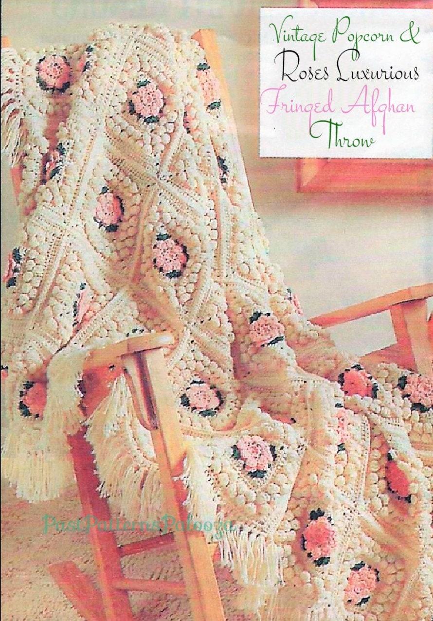 Vintage Crochet Pattern Floral Popcorn Granny Squares Afghan Etsy