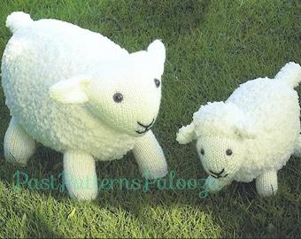Vintage Knitting Pattern Knit Sheep and Lamb PDF Instant Digital Download Animal Amigurumi Ewe and Baby Soft Toys