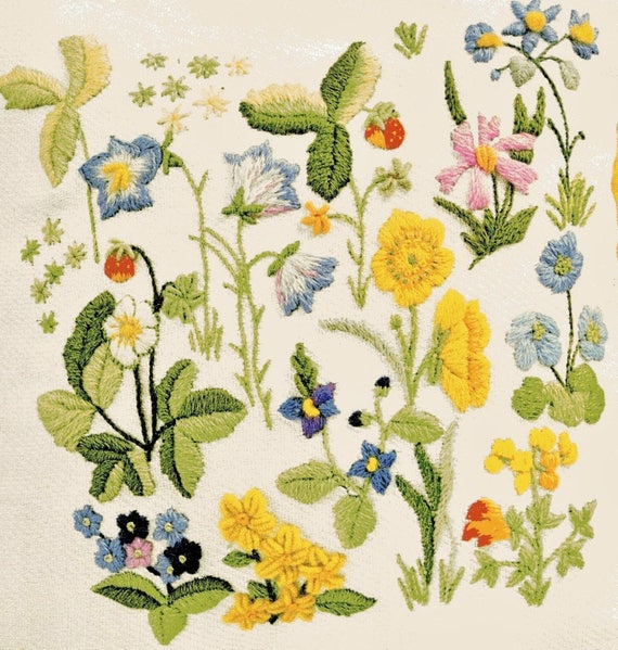 PDF Vintage Crewel Embroidery Pattern Field Flowers Woodland Etsy Inspiration Crewel Embroidery Patterns