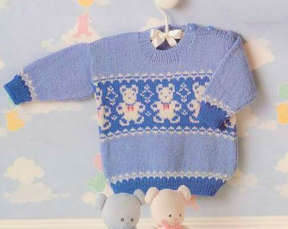 ebf884ecc PDF Vintage Knitting Pattern Knit Fair Isle Teddy Bears