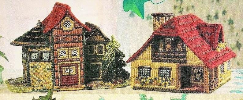 Vintage Plastic Canvas Pattern Rustic European Country Cottages Houses Village PDF Instant Digital Download 4 Cottage Designs 7 Count