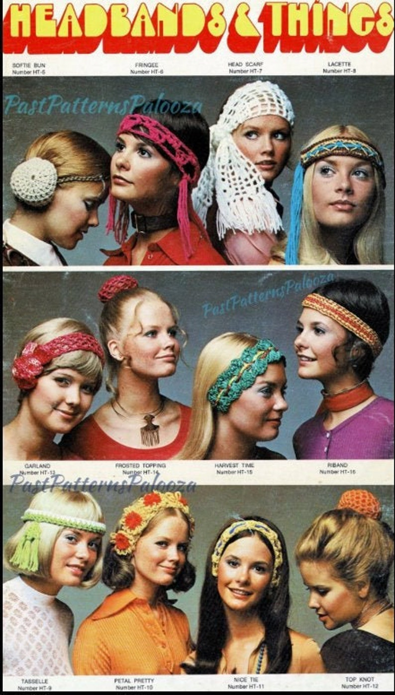 70s Headbands, Wigs, Hair Accessories Vintage Crochet Patterns Womens Retro 70s Hairbands Headbands Bun Holders PDF Instant Digital Download Hippie Gypsy Boho Flower Power Chic $2.90 AT vintagedancer.com