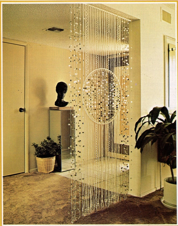 Vintage Macrame Deco Divider Beaded Wall Hanging Pattern Bead Curtain 1970s  Retro Boho Hippie PDF Instant Digital Download Room Door Divider