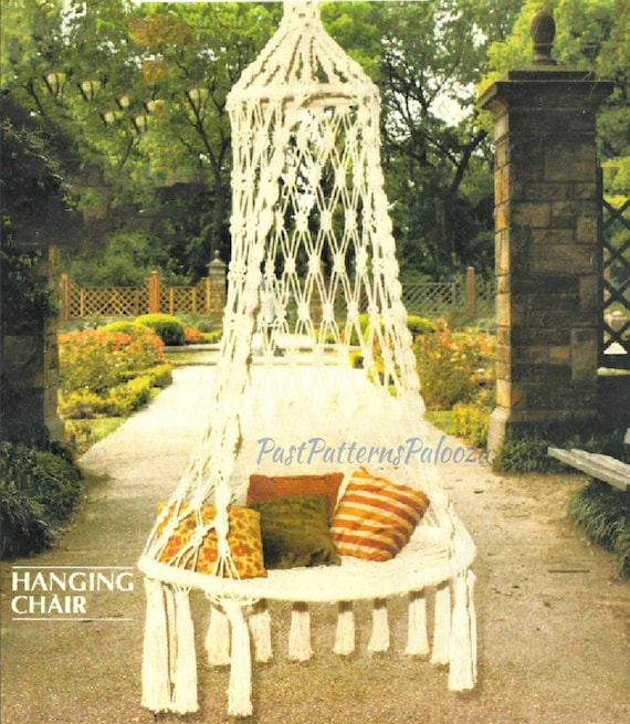 Awe Inspiring Vintage Macrame Pattern 6 Large Outdoor Swinging Chair Hanging Patio Backyard Swing Boho Hippie Chic Pdf Instant Digital Download 6 Foot Unemploymentrelief Wooden Chair Designs For Living Room Unemploymentrelieforg