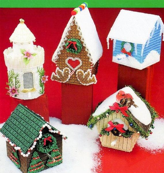 Christmas Birdhouses.Vintage Plastic Canvas Christmas Birdhouses Patterns Pdf Instant Digital Download 5 Designs Gingerbread Bird House Log Cabin Cottage Castle
