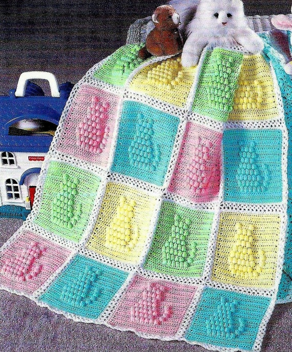 Vintage Crochet Pattern Popcorn Stitch Kitty Cat Afghan Pdf Etsy
