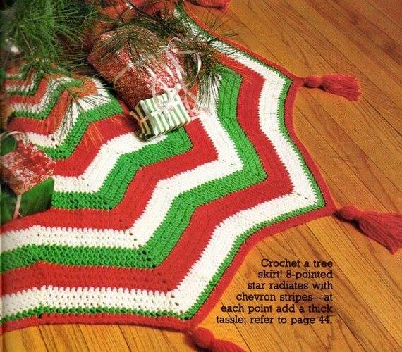 Vintage Crochet Pattern Chevron Star Christmas Tree Skirt Tri Etsy