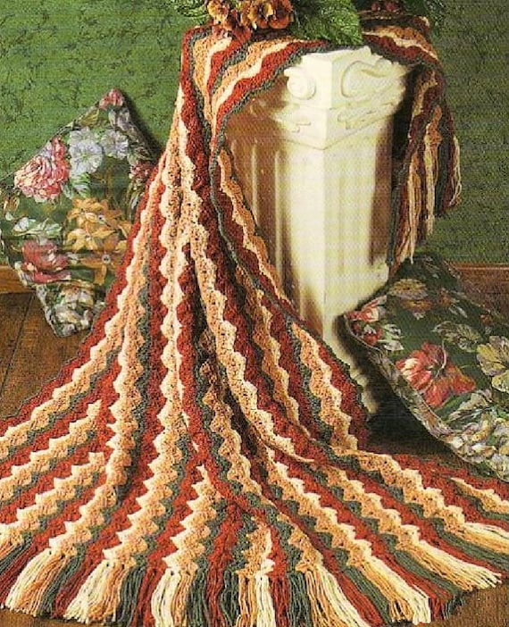 Vintage Crochet Navajo Shell Ripple Afghan Pattern Pdf Instant Etsy