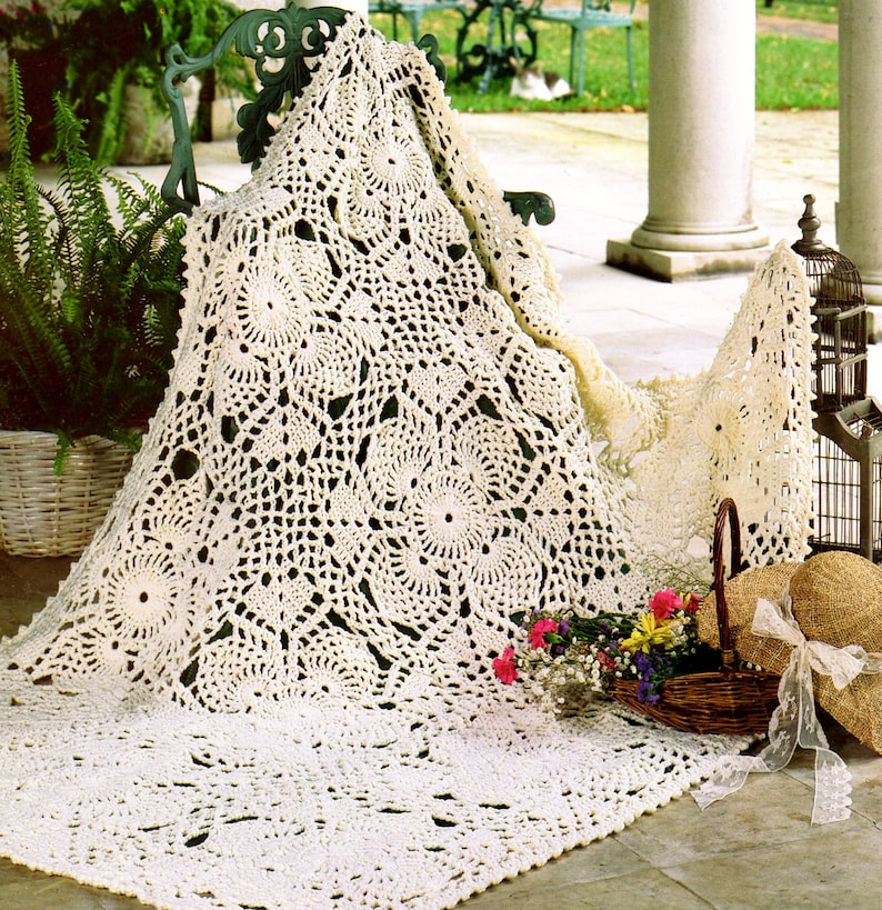 Vintage Lace Crochet Pineapple Afghan Pattern Pdf Instant Etsy