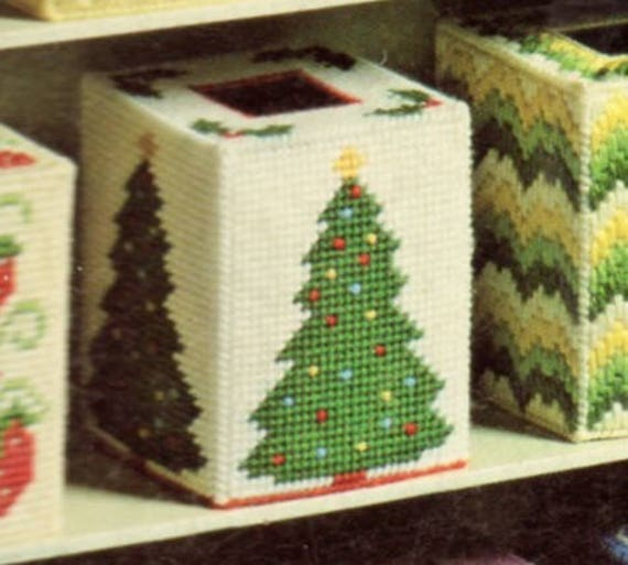 Plastic Canvas Christmas.Vintage Plastic Canvas Christmas Tree Tissue Box Cover Pattern Holiday Tissue Topper Pdf Instant Digital Download