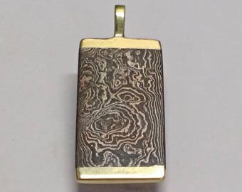 Damascus Pendant with Brass Accents
