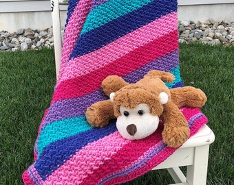 Crocheted Baby Blanket, striped baby blanket, crocheted blanket with ruffle, handmade baby blanket, ready to ship baby shower gift