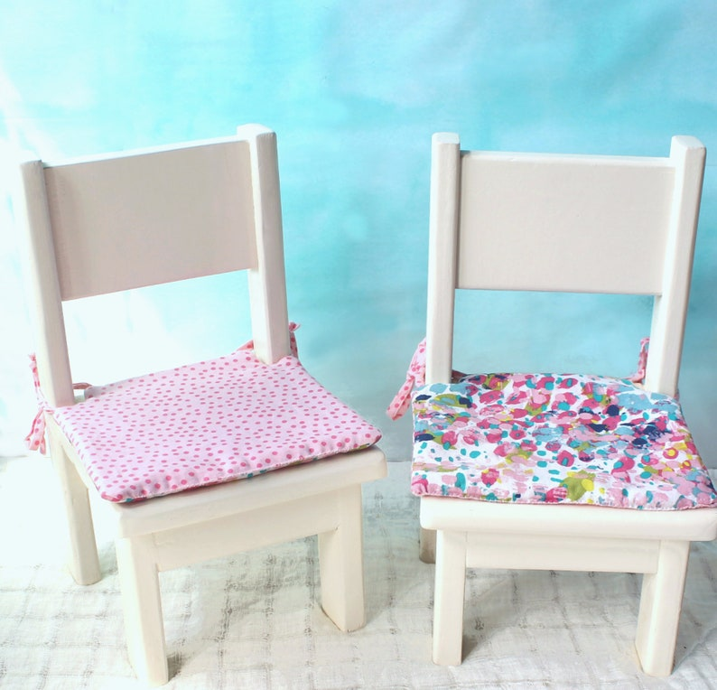 Custom Reclaimed Wood Doll Chair Set Two Miniature Chairs For 18 Dolls American Style Doll Accessory