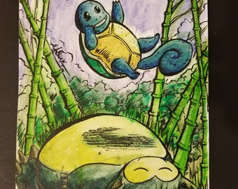 Squirtle and Snorlax Original Water Painting