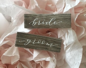 Tile Place Cards, Wood Appearance, Rustic Wedding Place Cards, Modern Calligraphy