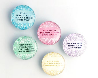 For I Know The Plans I Have For You Glass Dome Marble Magnets