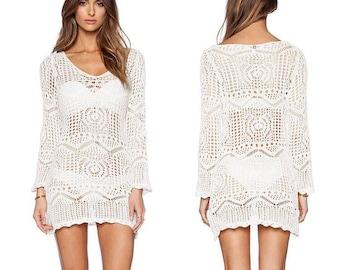 fb65bdd9d8b SALE   White crochet dress   beach dress   Boho chic   Hand knitted   %100  cotton   Hippie style   Summer 2018
