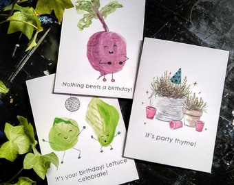 Vegetable Pun Birthday Cards; Funny Birthday Cards; Punny Birthday Cards; Birthday Card Pack; Pack of Cards; Watercolour Cards