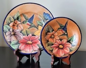 Vintage Mexican Majolica Santa Rosa Pottery Plate Set of 2 Decorative Plates Signed Pottery Folk Art Floral Hummingbird Boho