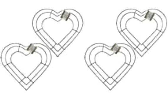 """12/"""" Metal Wire Wedding FOUR 4 - Heart Shaped Wreath Memorial Frame Forms"""