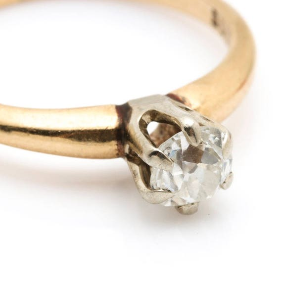 14K Yellow Gold Diamond Solitaire Ring - image 5