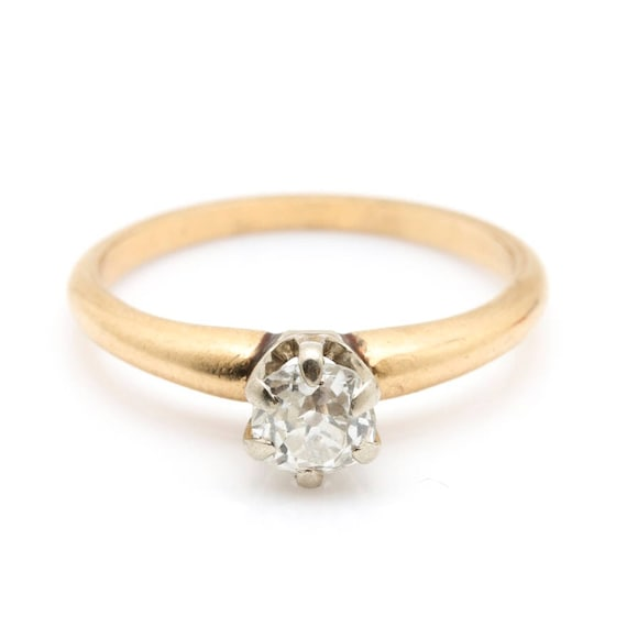 14K Yellow Gold Diamond Solitaire Ring - image 1